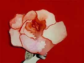 Aquí la flor pintada en acuarela está recortada y colocada sobre un papel color rojo, sumada otra acuarela e hilo para el cabello del personaje. Una técnica mixta.
