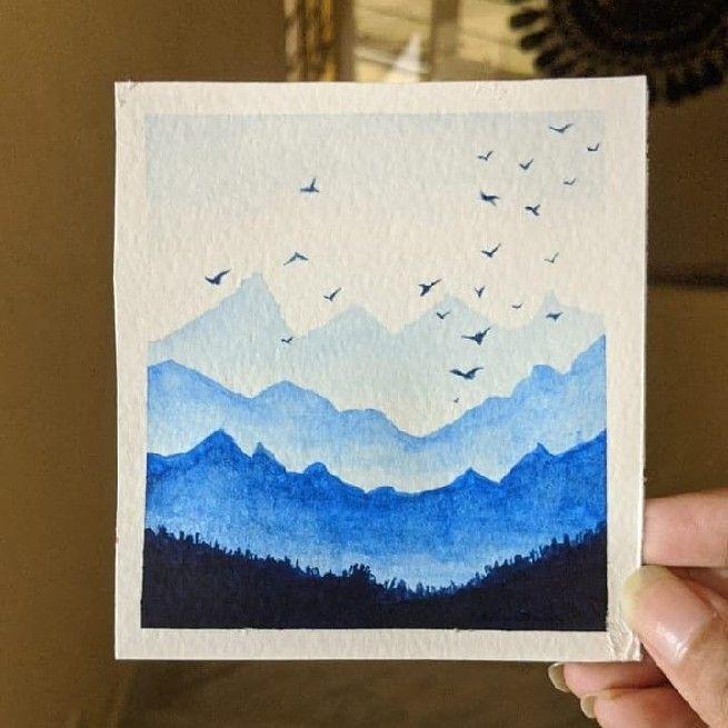 Cómo pintar un paisaje con acuarelas paso a paso. Pintura con perspectiva atmosférica. Tonos verdes azulados.