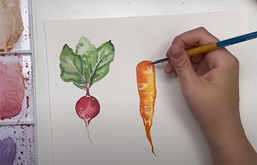 Cómo pintar con acuarelas Técnicas básicas. Rabanito y zanahoria