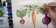 Cómo pintar con acuarelas Técnicas básicas. Vegetales y hojas