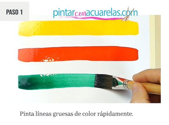 ideas para pintar con acuarelas: líneas horizontales coloridas, paso 1: pintamos las primeras 3: amarilla, roja y verde de forma horizontal y rápido