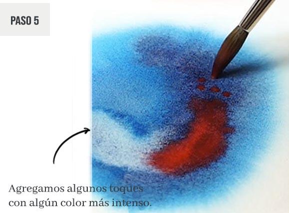 Pintar con acuarelas, las mejores ideas, paso a paso. Paso 5: agregamos algunos toques con algún color más intenso.