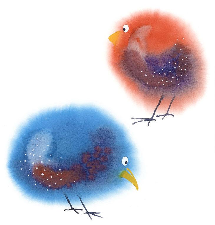 ideas para pintar con acuarelas : Dos hermosos pajaritos esponjosos, pintados en acuarela.