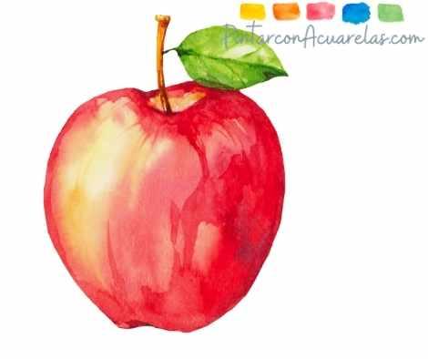 Dibujo de una manzana con acuarela