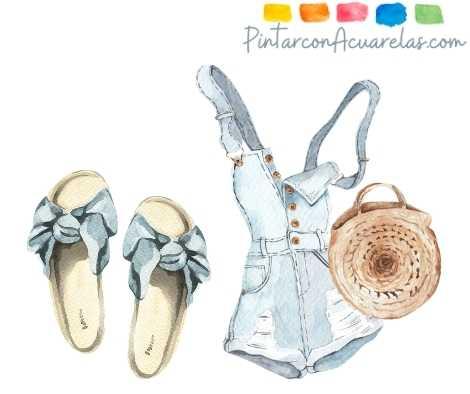 Dibujos con acuarela inspirados en tu propia ropa