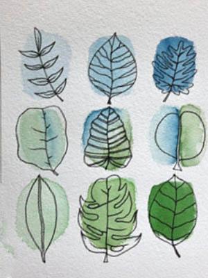 Dibujos de hojas con acuarela