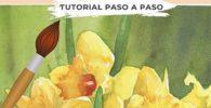como pintar flores de narcisos en acuarela