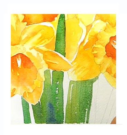 Pinta los tallos y hojas de los narcisos en acuarela. Pinta hermosas flores paso a paso y fácil con nosotros.