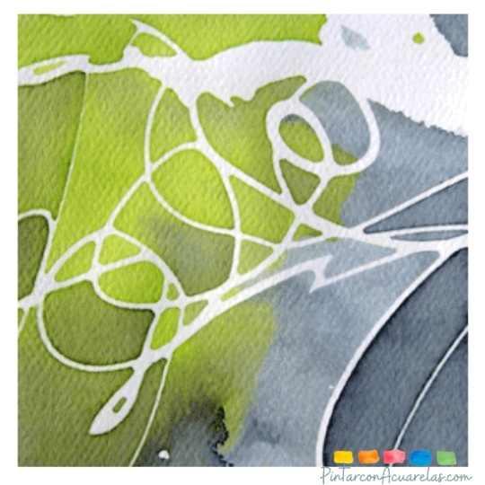 El líquido para enmascarar acuarelas es excelente para crear obras abstractas con mucho contraste e incluso para hacer letras o lettering.