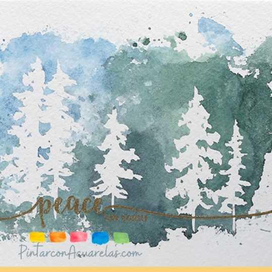 Los pinos de este paisaje fueron realizados utilizando líquido para enmascarar y pintando con acuarelas a su alrededor.